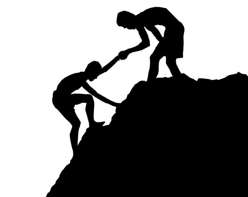 山登りを手助けする・される人たち